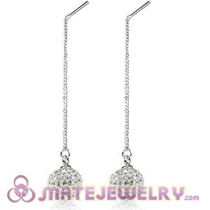 10mm Czech Crystal Ball Sterling Silver String Earrings