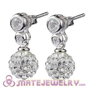 8mm Czech Crystal Ball Earrings With Sterling Silver Inlay CZ Stone Studs