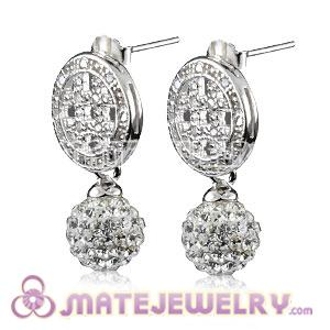 8mm Czech Crystal Ball Earrings With Sterling Silver Inlay CZ Stone Hook