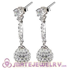 8mm Czech Crystal Ball Dangle Earrings With Sterling Silver Inlay CZ Studs