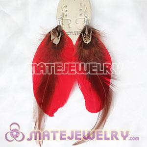 Cheap Red Tibetan Jaderic Bohemia Long Feather Earrings