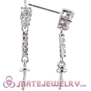 925 Sterling Silver Inlay CZ Stone Earring Component Findings