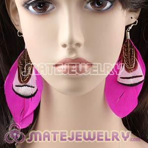 Pink Tibetan Jaderic Bohemia Grizzly Feather Earrings