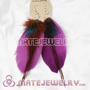 Purple Tibetan Jaderic Bohemia Grizzly Feather Earrings