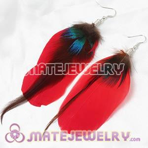 Red Tibetan Jaderic Bohemia Grizzly Feather Earrings