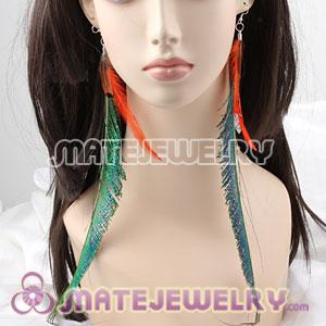 Big Green Extra Long Feather Earrings For Sale