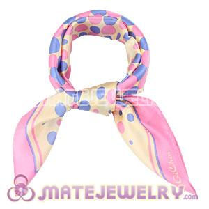 Wholesale Pink Border 50X50CM Printed Bubbles Silk Scarves Natural Small Square Pure Silk Scarf