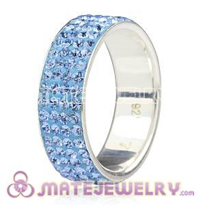 Wholesale 925 Sterling Silver Rings With Blue Czech Crystal