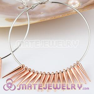 22mm Rose Gold Plated Spike Beads For Basketball Wives Hoop Earrings