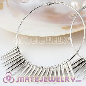 22mm Platinum Plated Spike Beads For Basketball Wives Hoop Earrings
