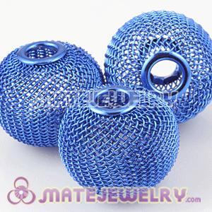 30mm Lagrge Basketball Wives Earrings Blue Mesh Balls Beads