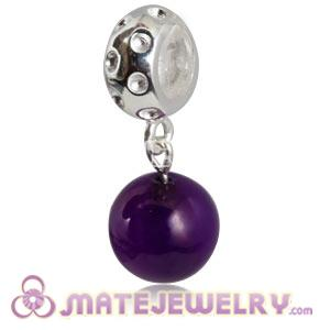 Sterling Silver European Dangle Charms Purple Agaate Beads