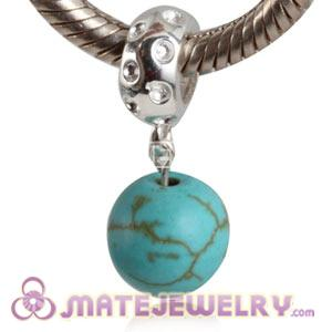 Sterling Silver European Dangle Charms Turquoise Beads