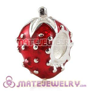 925 Sterling Silver European Style Beads Enamel strawberry