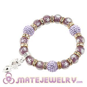 Snowflake Glass Beaded Basketball Wives Bracelets With Czech Crystal Beads
