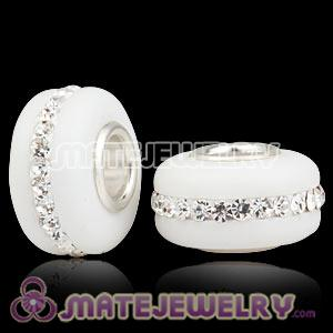 Wholesale Kerastyle White Frosted Glass Silver Core Bead With Austrian Crystal