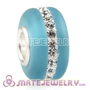 Wholesale Kerastyle Blue Frosted Glass Silver Core Bead With Austrian Crystal