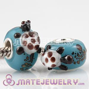 European Handmade Glass Turtle Surf Beads In 925 Silver Single Core