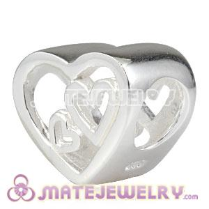 Wholesale 925 Sterling Silver European Big Heart Charms Beads