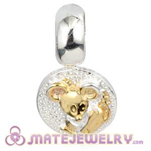 Gold Plated Sterling Chinese Zodiac Rat Dangle Charm Bead Wholesale