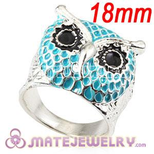 Wholesale 18mm Unisex Silver Plated Enamel Blue Owl Finger Ring