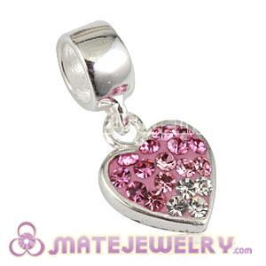 Wholesale 925 Sterling Silver Heart Dangle Charms With Austrian Crystal