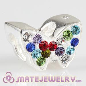 Wholesale 925 Sterling Silver Butterfly Charms With Austrian Crystal