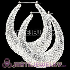 76X90mm Silver Basketball Wives Bamboo Crystal Water Drop Earrings