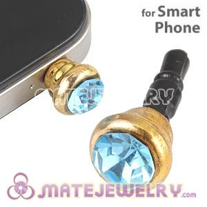 Anti Dust Earphone Jack Plug Accessory With Cyan Crystal For Smart Phone