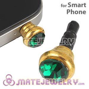 Anti Dust Earphone Jack Plug Accessory With Green Crystal For Smart Phone