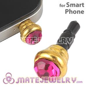 Anti Dust Earphone Jack Plug Accessory With Fushia Crystal For Smart Phone