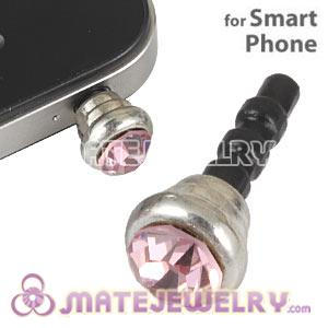 Anti Dust Earphone Jack Plug Accessory With Pink Crystal For Smart Phone