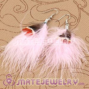 Long Red Tibetan Jaderic Bohemia Styles Shagginess Feather Earrings