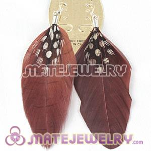 Fashion Boho Grizzly Feather Earrings WithDecorated Dot