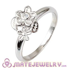 Platinum Plated He Loves Me Ring Upon Ring With Austrian Crystal
