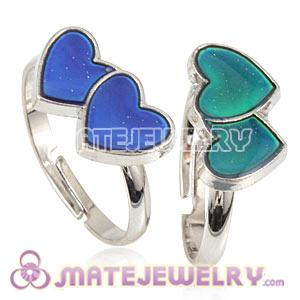 Wholesale Mix Size Unisex Silver Plated Change Color Heart Rings