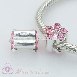 Silver Bead Compatible with Pink Crystal