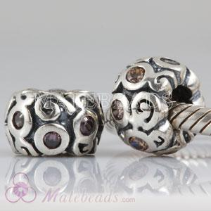 European Sterling Primrose Path Bead with Orange Cubic Zirconia Stones