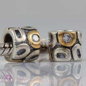 European gold plated silver beads with stone