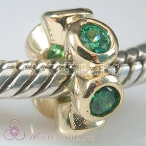 European Gold Bead with Emerald