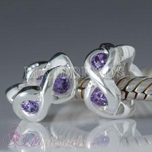 Wholesale sterling Largehole Jewelry spacer beads with purple stone