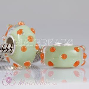 Environmental Lampwork glass beads that fit European with orange dot