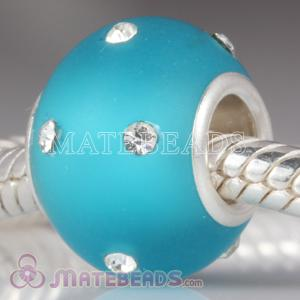 Kerastyle Silver Frosted Glass Bead with Austrian crystal Accents