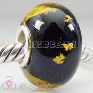 Amber European Tedora silver foil brown glass beads
