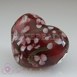 large glass heart designer beads