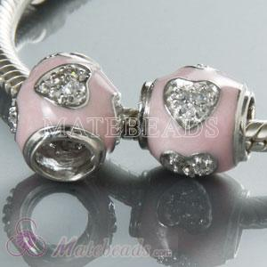 European pink enamel with Heart Stone charms