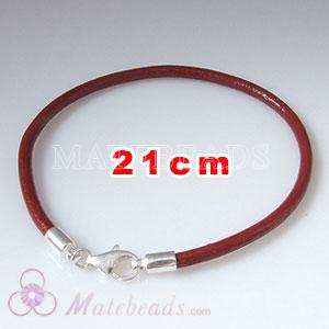 21cm red slippy European leather bracelet sterling lobster clasp