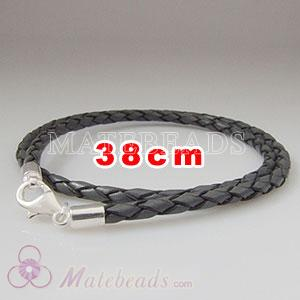 38cm gray braided European double leather bracelet sterling lobster clasp