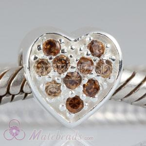 Wholesale heart charms European beads with stones