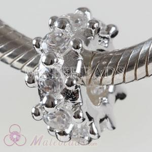 European Silver spacer Charms with Clear Stone